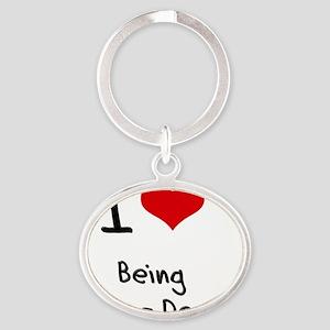 I love Being Tone-Deaf Oval Keychain