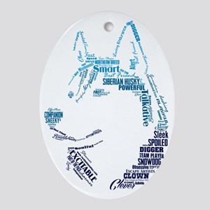 Husky Words Oval Ornament