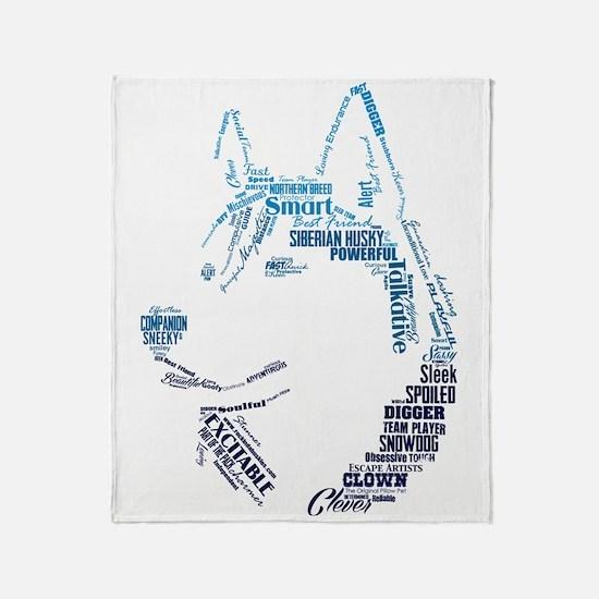 Husky Words Throw Blanket