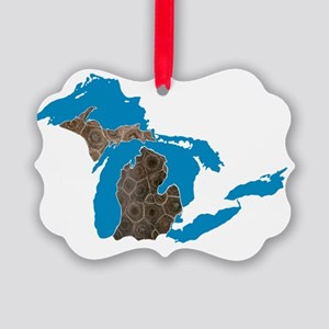 Great lakes Michigan petoskey sto Picture Ornament