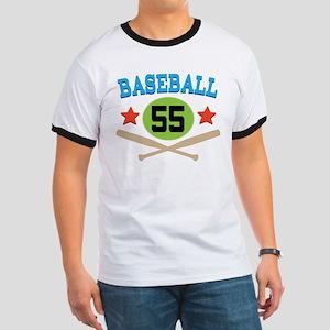 Baseball Player Number 55 Ringer T