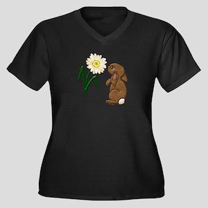 Spring Bunny Women's Plus Size V-Neck Dark T-Shirt