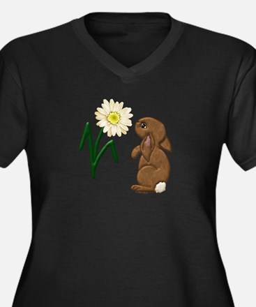 Spring Bunny Women's Plus Size V-Neck Dark T-Shirt