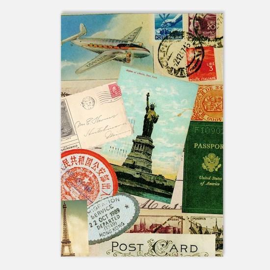 Vintage Passport travel c Postcards (Package of 8)