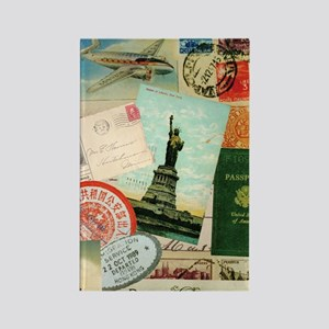 Vintage Passport travel collage Rectangle Magnet