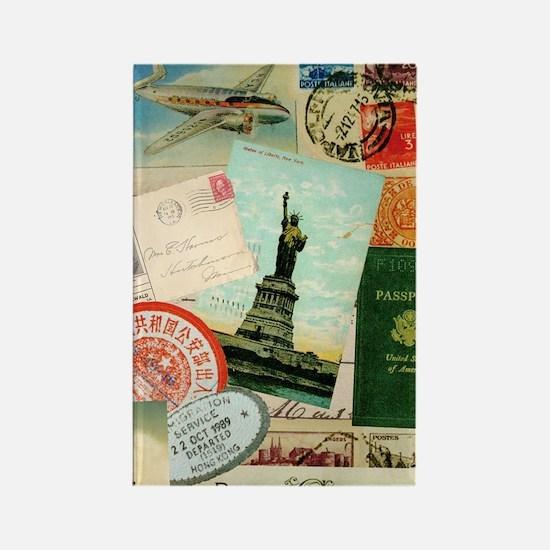 Vintage Passport travel collage Rectangle Magnet