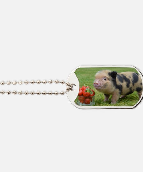 Micro pig with strawberries Dog Tags
