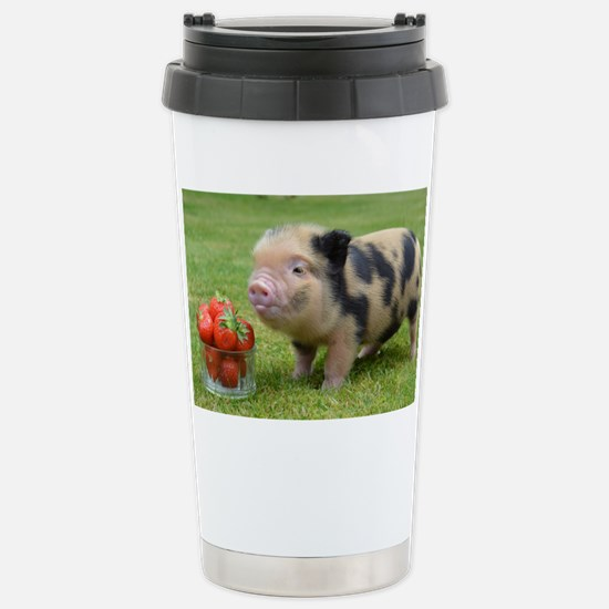 Micro pig with strawber Stainless Steel Travel Mug