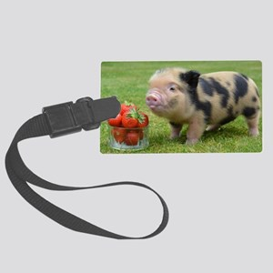 Little micro pig with strawberri Large Luggage Tag