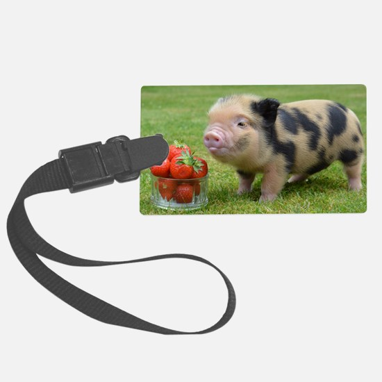 Little micro pig with strawberri Luggage Tag
