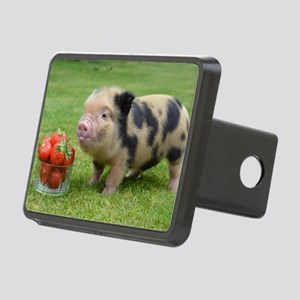 Little micro pig with stra Rectangular Hitch Cover