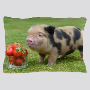 Little micro pig with strawberries Pillow Case