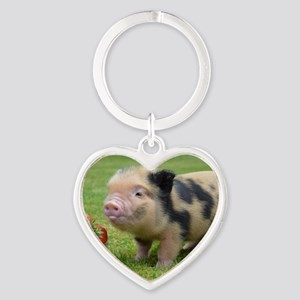 Little micro pig with strawberries Heart Keychain