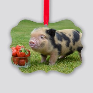 Little micro pig with strawberrie Picture Ornament