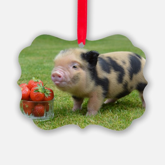 Little micro pig with strawberrie Ornament