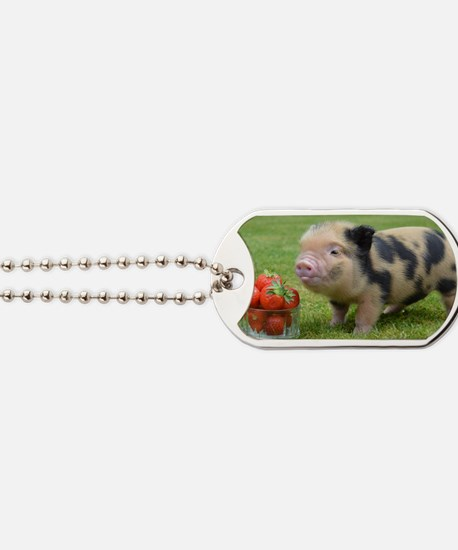 Little micro pig with strawberries Dog Tags