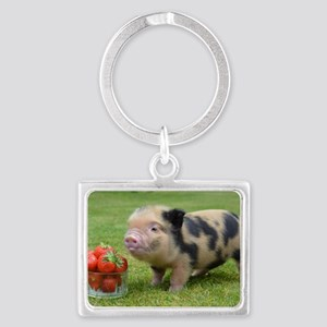 Little micro pig with strawberr Landscape Keychain