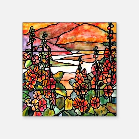 "Red Hollyhocks in Landscape Square Sticker 3"" x 3"""