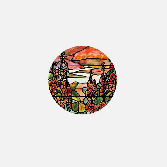 Red Hollyhocks in Landscape Mini Button