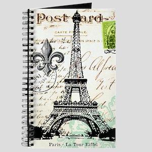 Vintage French Carte Postale Eiffel Tower Journal