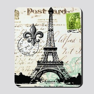 Vintage French Carte Postale Eiffel Towe Mousepad