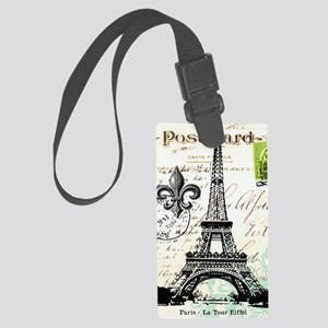 Vintage French Carte Postale Eif Large Luggage Tag