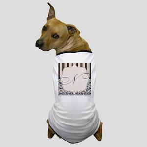 Gold and Navy Damask Monogram N Dog T-Shirt