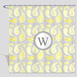 Yellow Gray Paisley Monogram Shower Curtain
