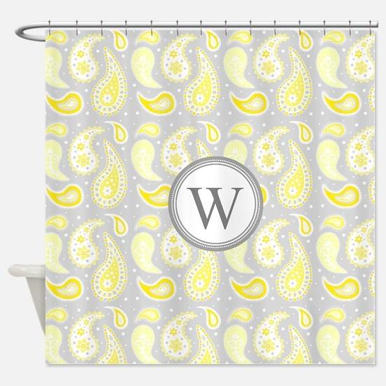 Yellow Gray Paisley Monogram Shower Curtain