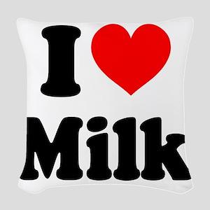 I Heart Milk Woven Throw Pillow