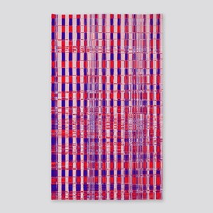 Red White Blue Distressed Plaid Pat 3'x5' Area Rug