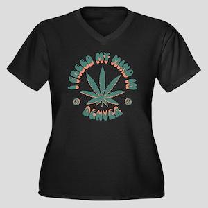 weed-denver- Women's Plus Size Dark V-Neck T-Shirt