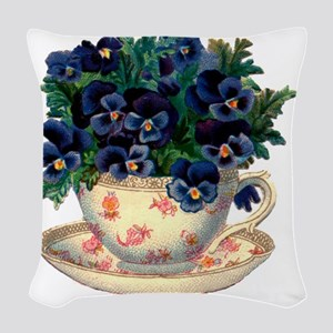 Teacup Flowers Woven Throw Pillow