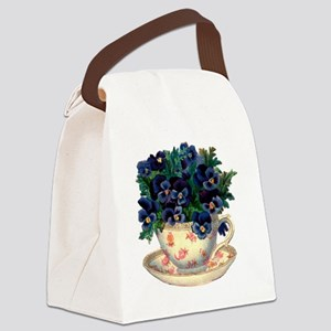 Teacup Flowers Canvas Lunch Bag
