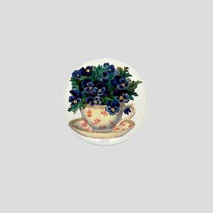 Teacup Flowers Mini Button