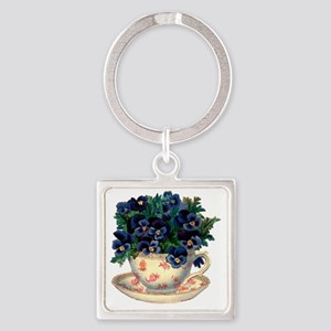 Teacup Flowers Square Keychain