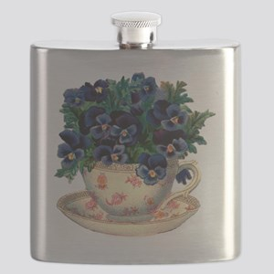 Teacup Flowers Flask