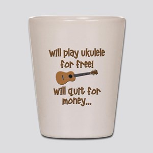 funny ukulele uke designs Shot Glass