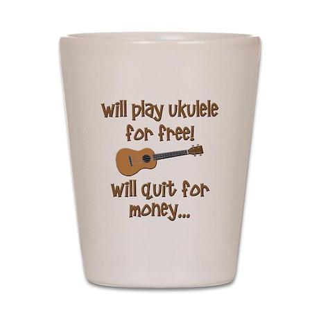 funny ukulele uke designs Shot Glass