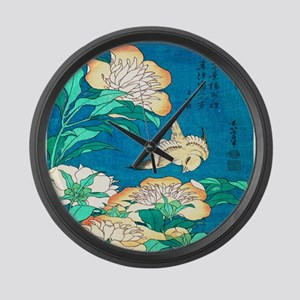 Peonies and Canary by Hokusai Large Wall Clock