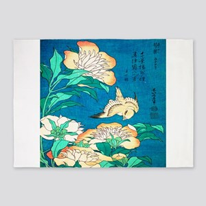 Peonies and Canary by Hokusai 5'x7'Area Rug