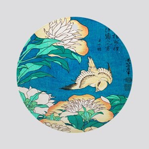 Peonies and Canary by Hokusai Round Ornament