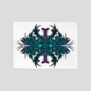 fantasy tattoo aqua 5'x7'Area Rug