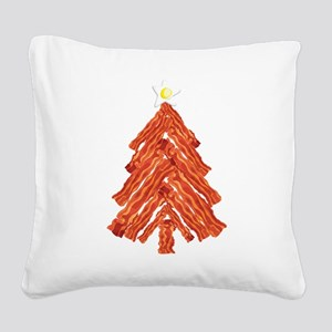 Bacon Christmas Tree Square Canvas Pillow