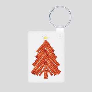Bacon Christmas Tree Aluminum Photo Keychain