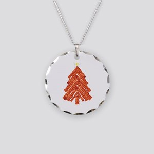 Bacon Christmas Tree Necklace Circle Charm