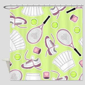 Tennis Love Pattern Green Shower Curtain