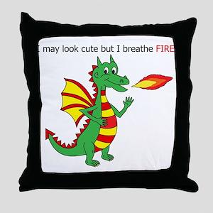 Fire breathing dragon Throw Pillow