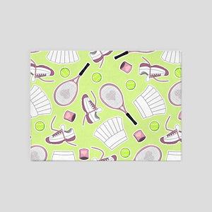 Tennis Love Pattern Green 5'x7'Area Rug