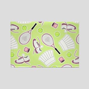 Tennis Love Pattern Green Magnets